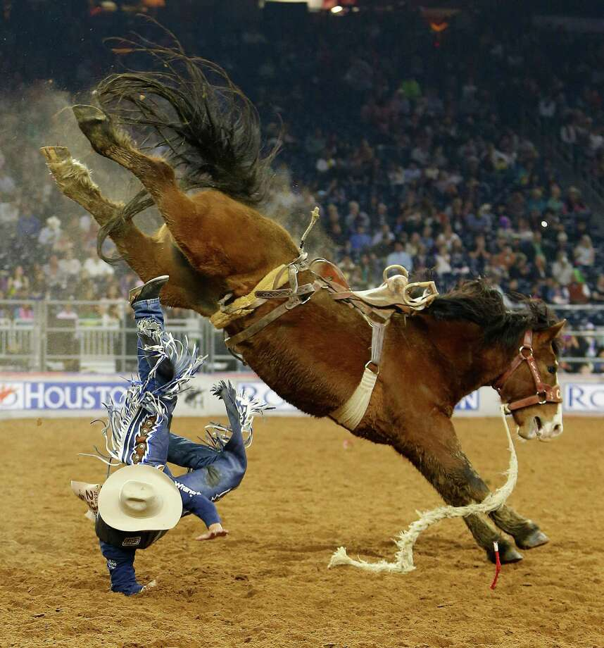 Navajo Warrior bucked off Jesse Wright during the Houston Livestock Show and Rodeo on March 13. Photo: Karen Warren, Houston Chronicle / © 2015 Houston Chronicle