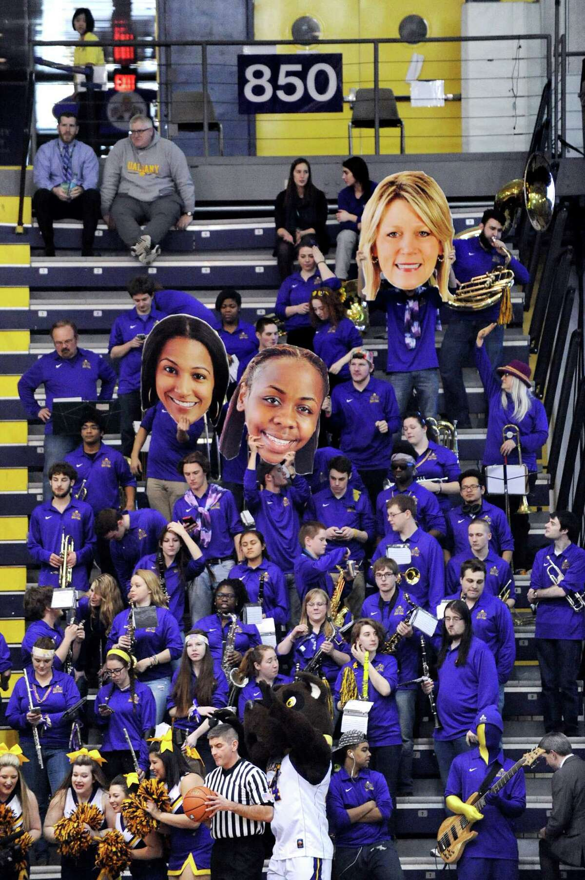 UAlbany's pep band shows their support during their America East Championship game against Hartford on Friday, March 13, 2015, at UAlbany in Albany, N.Y. (Cindy Schultz / Times Union)