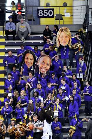 UAlbany's pep band shows their support during their America East Championship game against Hartford on Friday, March 13, 2015, at UAlbany in Albany, N.Y. (Cindy Schultz / Times Union) Photo: Cindy Schultz / 00030992A