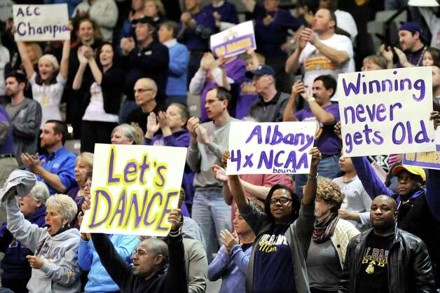 UAlbany's fans cheer when they win 84-75 over Hartford in their America East Championship game on Friday, March 13, 2015, at UAlbany in Albany, N.Y. (Cindy Schultz / Times Union) Photo: Cindy Schultz / 00030992A