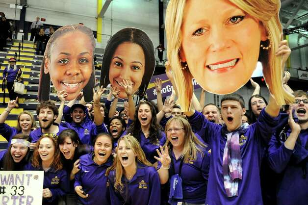 UAlbany's students celebrate their 84-75 win over Hartford in their America East Championship game on Friday, March 13, 2015, at UAlbany in Albany, N.Y. (Cindy Schultz / Times Union) Photo: Cindy Schultz / 00030992A