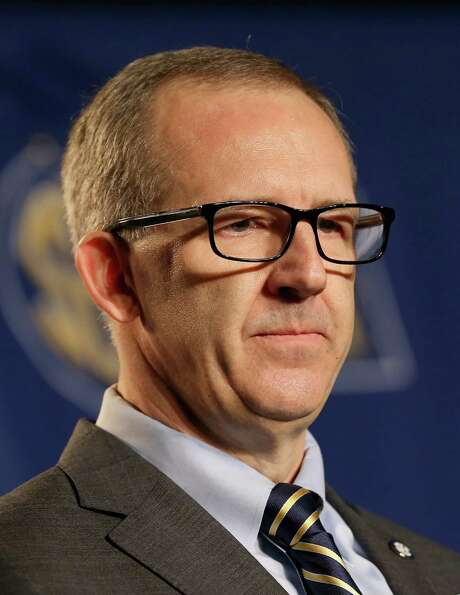 NASHVILLE, TN - MARCH 13:  Greg Sankey the new commissioner of the SEC talks to the media before the quaterfinals of the SEC Basketball Tournament at Bridgestone Arena on March 13, 2015 in Nashville, Tennessee.  (Photo by Andy Lyons/Getty Images) Photo: Andy Lyons, Staff / 2015 Getty Images