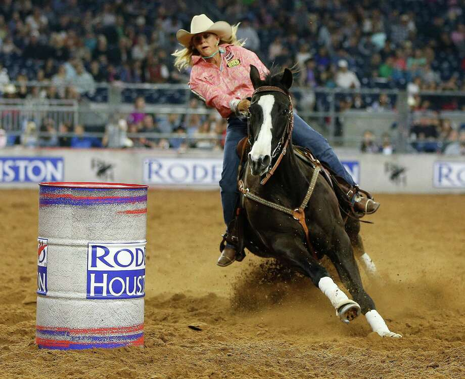 Although barrel racer Dena Kirkpatrick didn't win any money in Friday's second go-round of Super Series IV, she remains tied for the series lead. Photo: Karen Warren, Staff / © 2015 Houston Chronicle