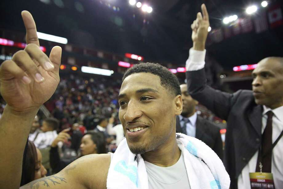 Texas Southern guard Madarious Gibbs basks in the joy of a 90-77 victory over rival Prairie View A&M in the SWAC tournament semifinals Friday night at Toyota Center. The top-seeded Tigers will take on Southern in the final. Photo: Thomas B. Shea, Freelance / © 2015 Thomas B. Shea