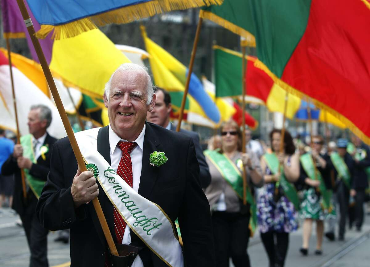 Mike Penny marches in the St. Patrick's Day Parade with the United Irish Societies Color Party on Market Street in San Francisco, Calif. on Saturday, March 14, 2015.