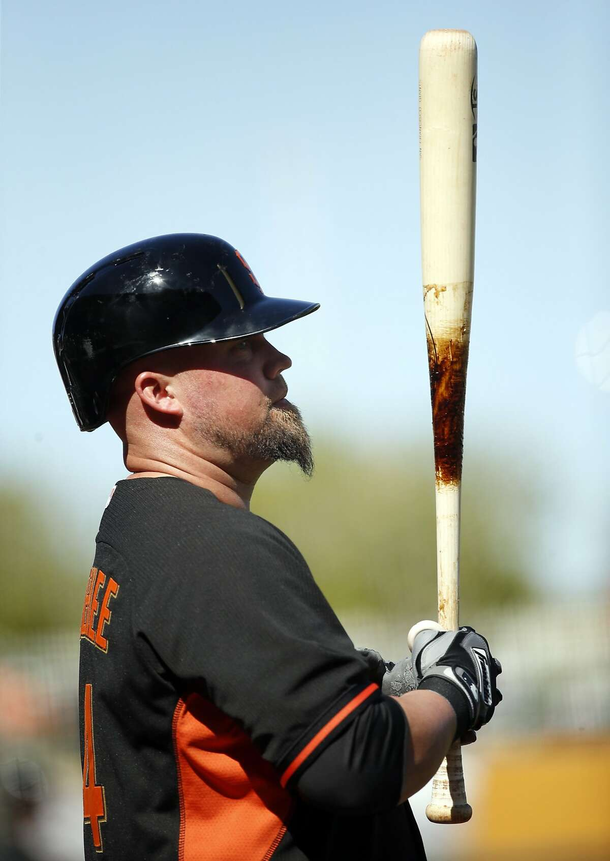 San Francisco Giants' Casey McGehee against Texas Rangers in Spring Training Cactus League game at Surprise Stadium in Surprise, Arizona, on Friday, March 6, 2015.