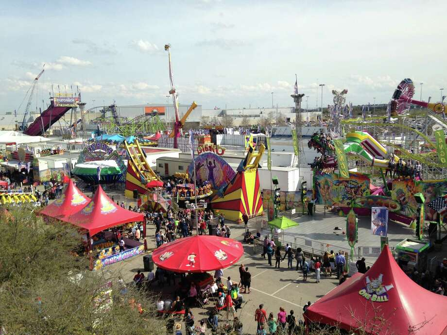 The Houston Livestock Show and Rodeo's carnival on Saturday, March 14, 2015, from the Sky Ride. Photo: Andrea Rumbaugh