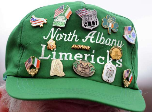 Parade adjutant Rick Salisbury wears a festive hat during the North Albany Limerick St. Patrick's Day Parade on Saturday March 14, 2015 in Albany, N.Y.  (Michael P. Farrell/Times Union) Photo: Michael P. Farrell / 00030751A