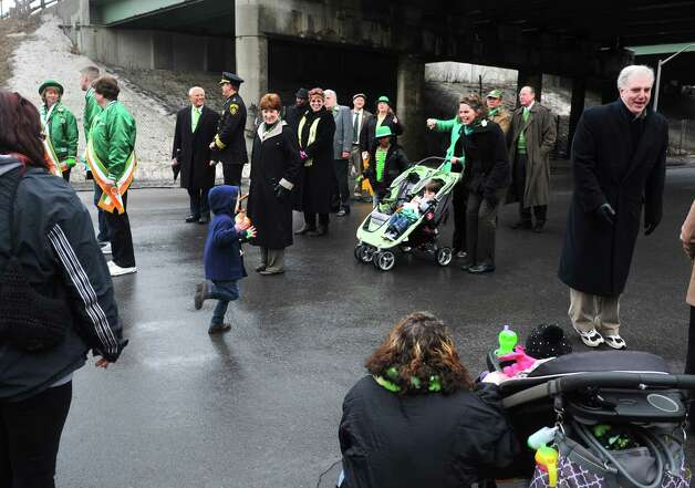 The North Albany Limerick St. Patrick's Day Parade heads up Broadway on Saturday March 14, 2015 in Albany, N.Y.  (Michael P. Farrell/Times Union) Photo: Michael P. Farrell / 00030751A