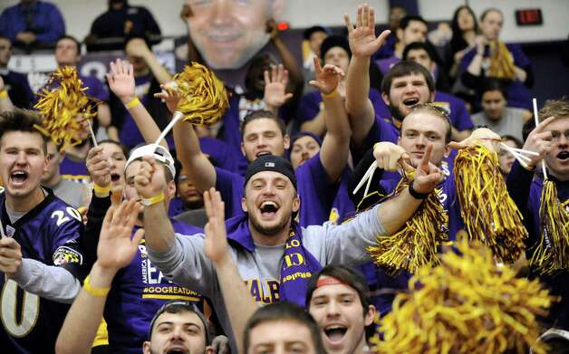 UAlbany students cheer for their team during the America East Championship game against Stony Brook on Saturday, March 13, 2015, at UAlbany in Albany, N.Y. (Cindy Schultz / Times Union) Photo: Cindy Schultz / 00030954A