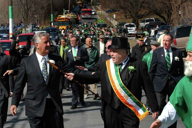 Albany Mayor Jerry Jennings and Assemblymember Jack McEneny  March in the North Albany St. Patrick's Day Parade in Albany, New York 3/14/2009. ( Michael P. Farrell / Times Union ) Photo: MICHAEL P. FARRELL / 00002899A