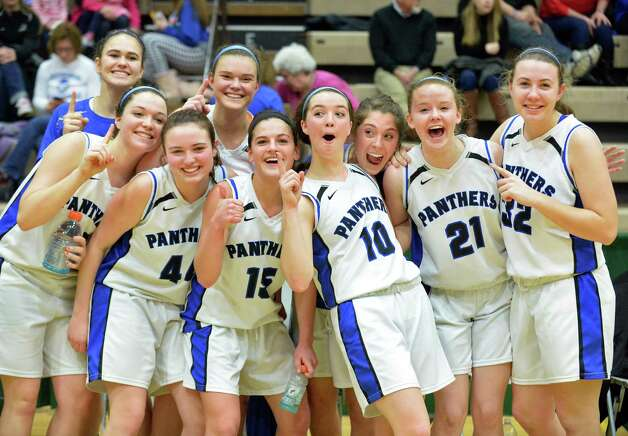 Hoosick Falls players celebrate their Class B regional final win over Canton at HVCC Saturday March 14, 2015 in Troy, NY.  (John Carl D'Annibale / Times Union) Photo: John Carl D'Annibale / 00031026A