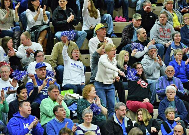 Hoosick Falls fans cheer their team during the Class B girls' basketball regional final against Canton at HVCC Saturday March 14, 2015 in Troy, NY.  (John Carl D'Annibale / Times Union) Photo: John Carl D'Annibale / 00031026A