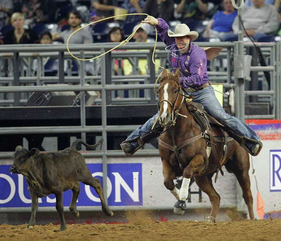 Although Reese Riemer finished third in Saturday's third-round competition, the Stinnett cowboy ended up winning the Super Series IV tie-down roping title. Photo: Karen Warren, Staff / © 2015 Houston Chronicle