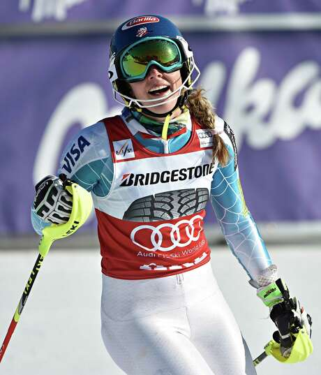 American Mikaela Shiffrin won her fourth World Cup slalom race of the season to extend her lead in the overall slalom standings over Sweden's Frida Hansdotter. Photo: Nisse Schmidt/Agence Zoom, Stringer / 2015 Getty Images