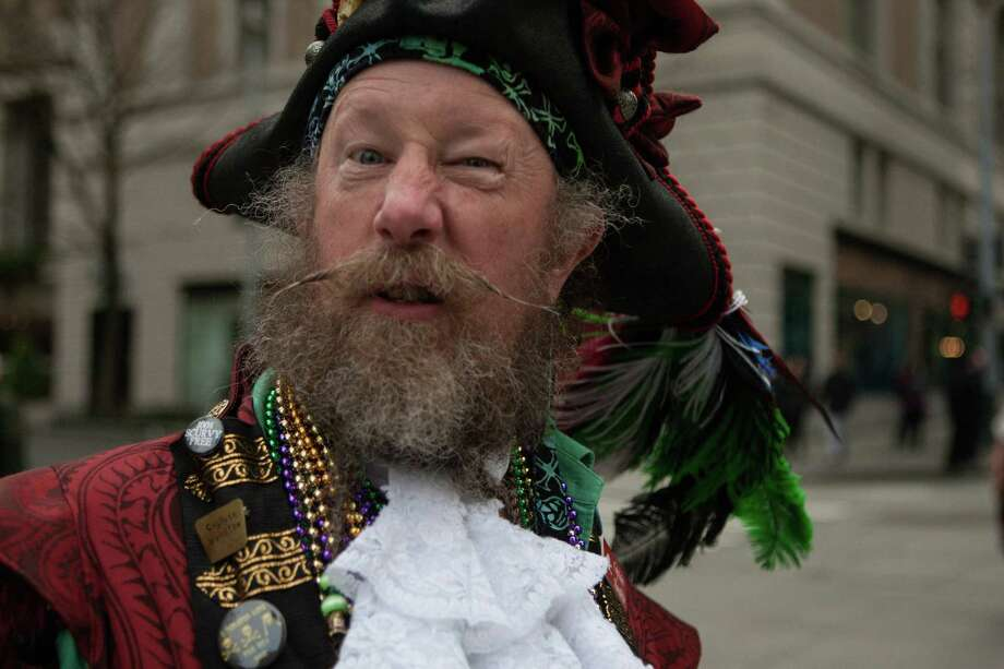 One of the Pirates of Treasure Island snarls while parading down 4th Ave. at the annual St. Patrick's Day Parade in downtown Seattle. Photographed on Saturday, March 14, 2015. Photo: DANIELLA BECCARIA, SEATTLEPI.COM / SEATTLEPI.COM