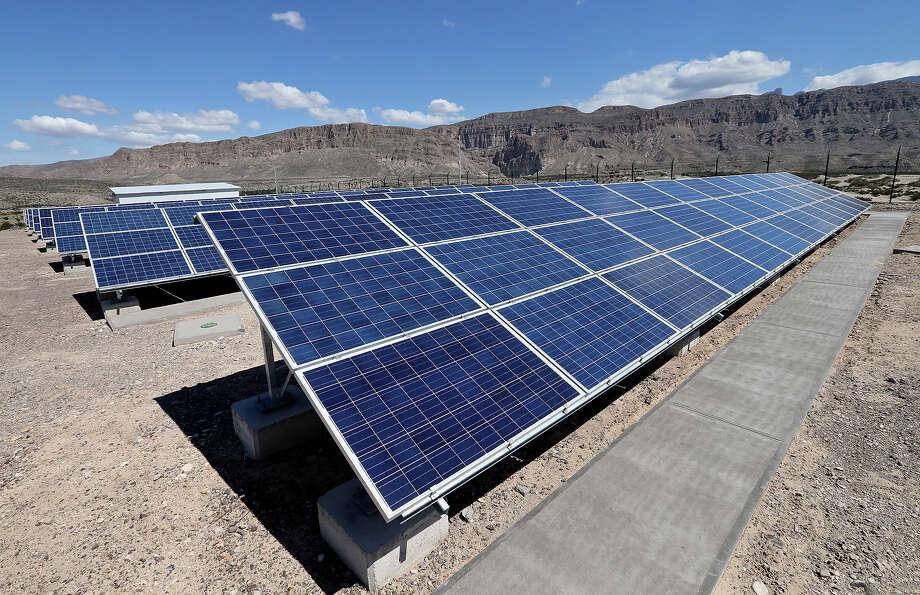 A view of the new solar panels and Sierra del Carmen mountains Saturday March 14, 2015 in Boquillas del Carmen, Mexico. Photo: Edward A. Ornelas, Staff / © 2015 San Antonio Express-News