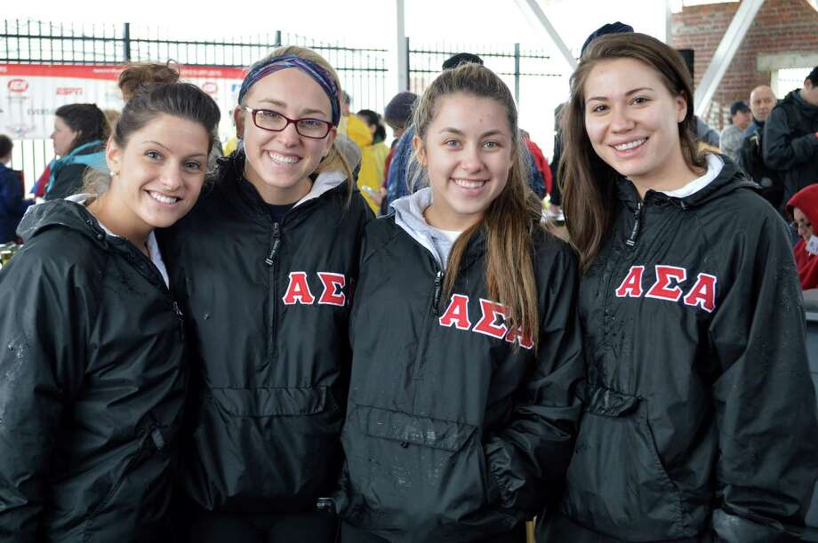 Members of Southern Connecticut State University's Alpha Sigma Alphas sorority turned out for the Penguin Plunge on Saturday. Photo: Jarret Liotta / Westport News