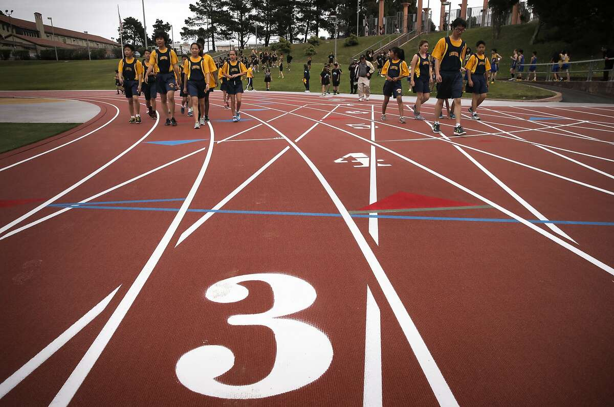 Middle schoolers from Roosevelt, Rooftop, Lawton, (pictured) and San Francisco Community take to the newly renovated track at Kezar Stadium which officially opened in San Francisco, Calif., as seen on Fri. March 13, 2015