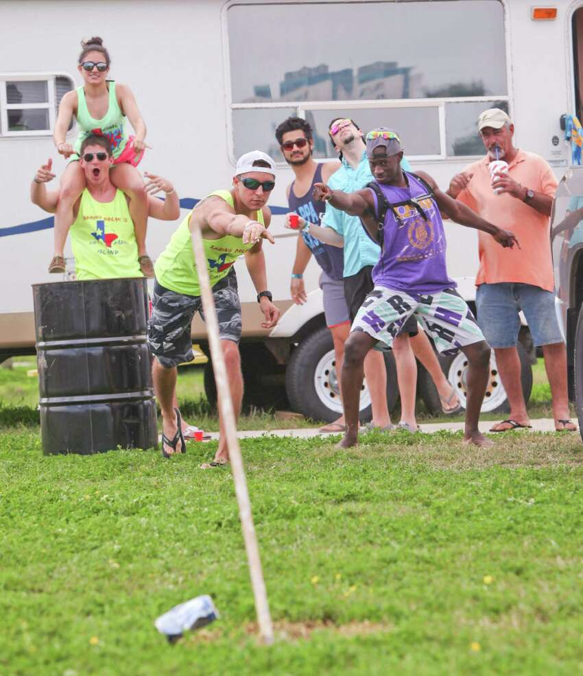 Local spring breakers play drinking games at a RV park behind Dirty Al's Restaurant.