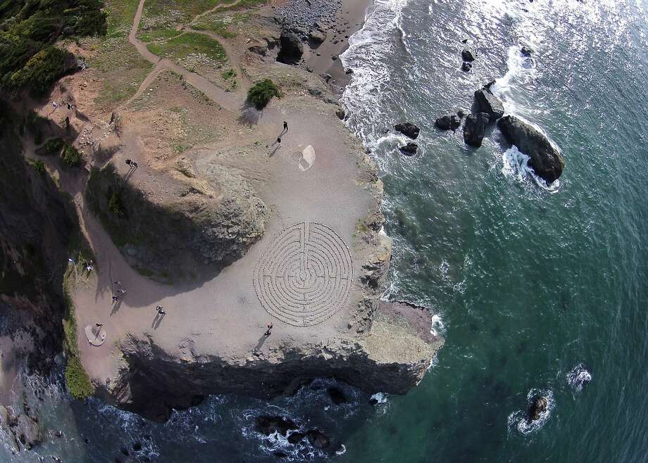 The Lands End labyrinth, maintained by Colleen Yerge, has been disrupted regularly and even destroyed since its creation in 2004. Photo: Mike Kepka, The Chronicle