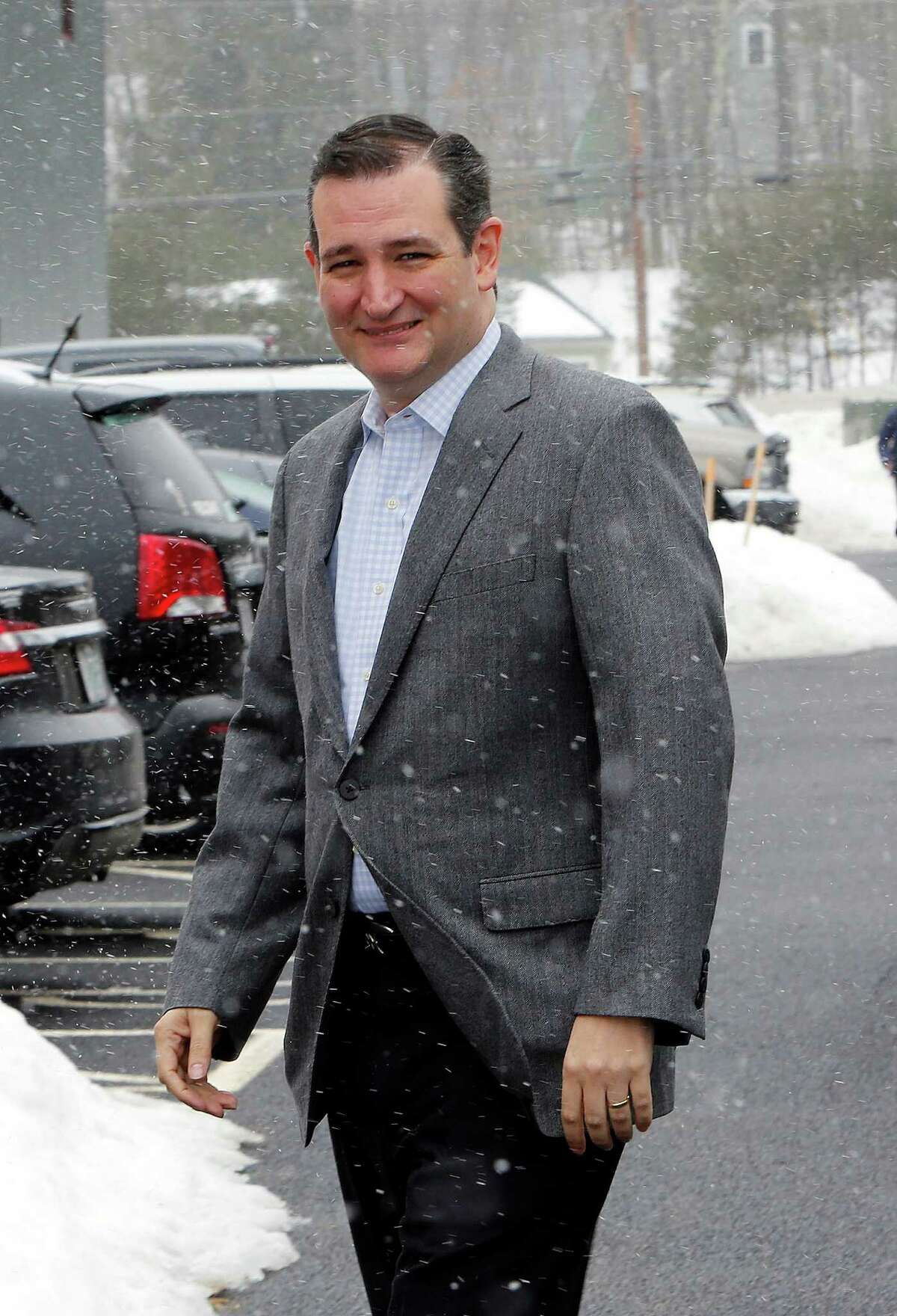 Sen. Ted Cruz, R-Texas, a tea party favorite and possible presidential candidate in 2016, arrives for a Strafford County Republican Committee Chili and Chat on Sunday, March 15, 2015, in Barrington, N.H. (AP Photo/Jim Cole)