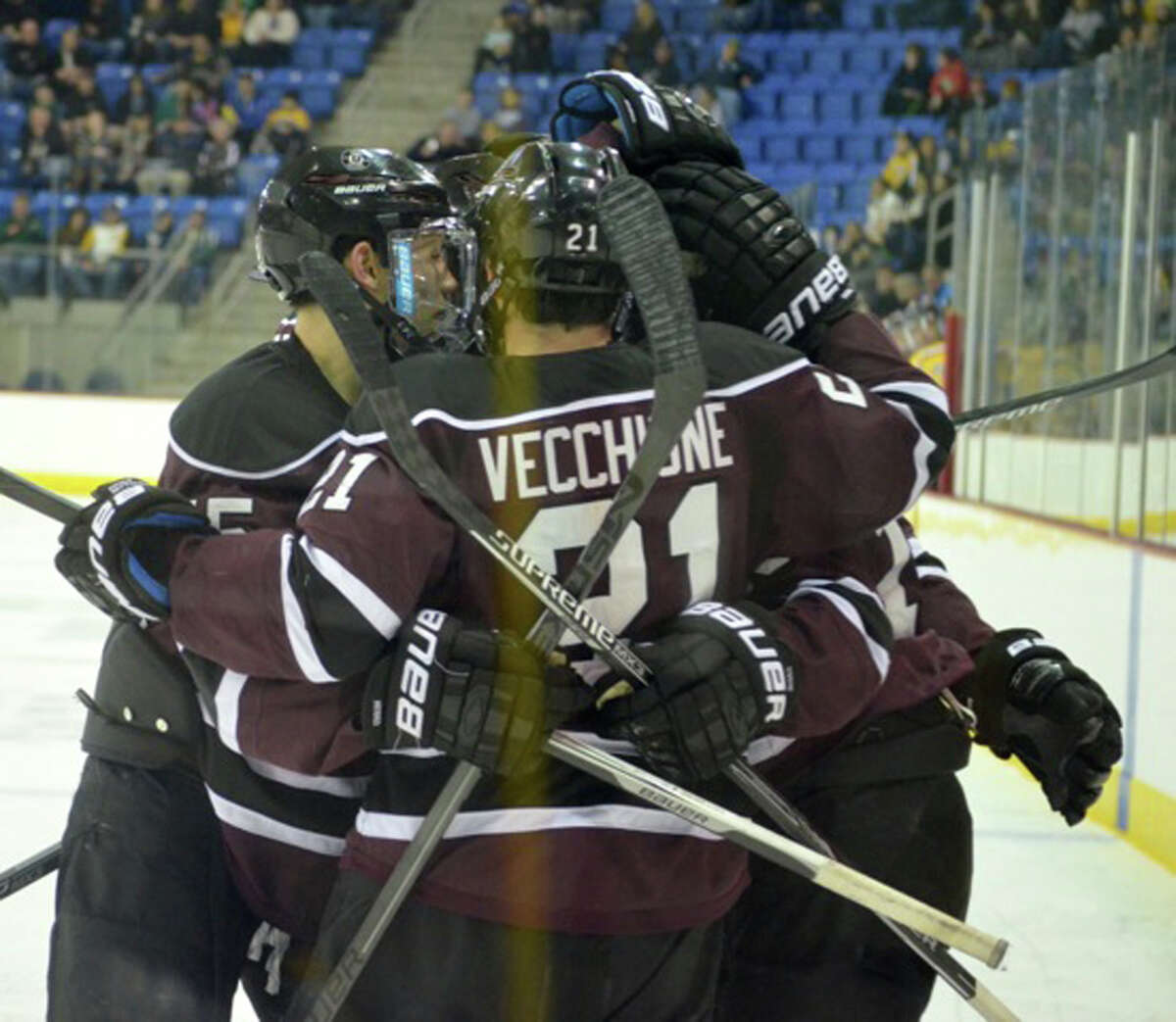 Union celebrates following Matt Wilkins? goal in the second period. ( Nick Solari/ Special to the Times Union )