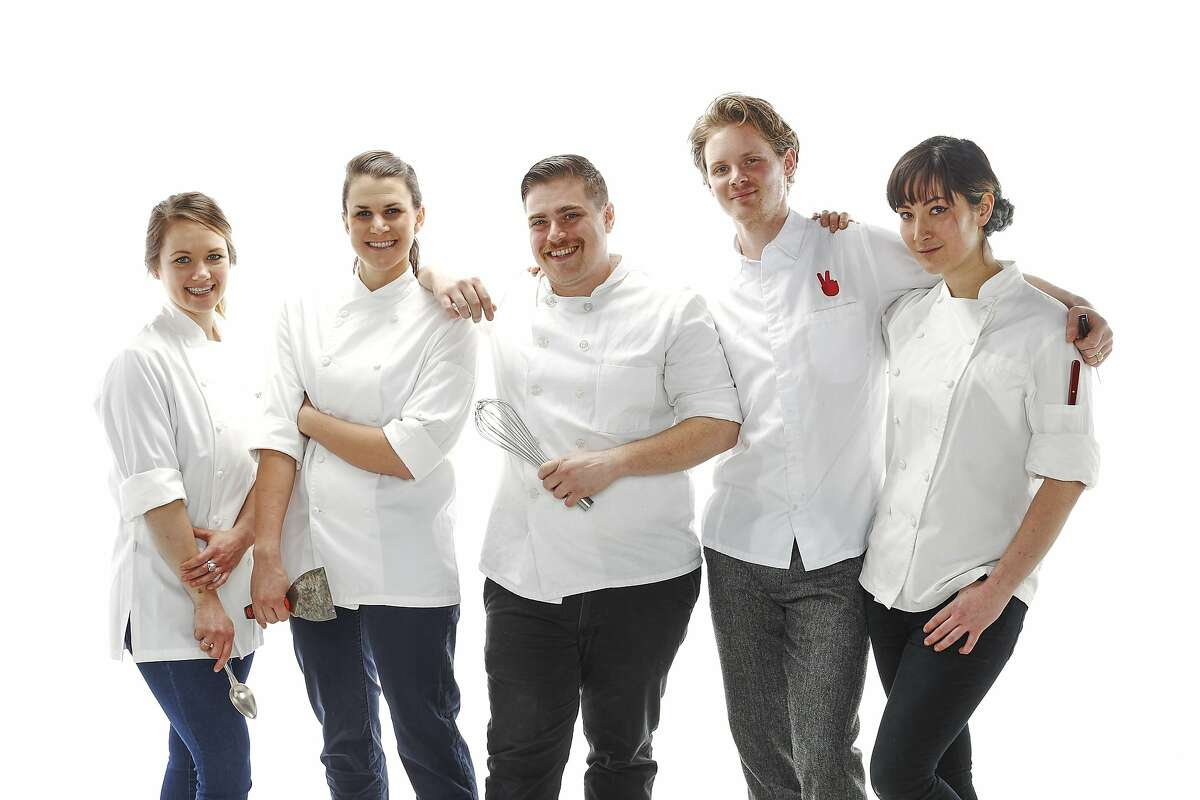 Pastry chefs Laura Cronin of Perbacco, Stephanie Prida of Manresa, Colin Kull of Range, Stephen of Mr. Holmes Bakery, and Maya Erickson of Lazy Bear are seen on Monday, March 9, 2015 in San Francisco, Calif.