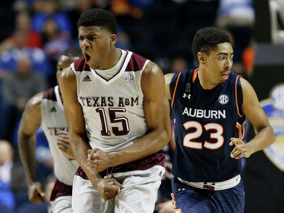 Texas A&M forward Davonte Fitzgerald celebrates a basket against Auburn during the first half of a second round Southeastern Conference tournament game on March 12, 2015, in Nashville, Tenn. Photo: Steve Helber /Associated Press / AP