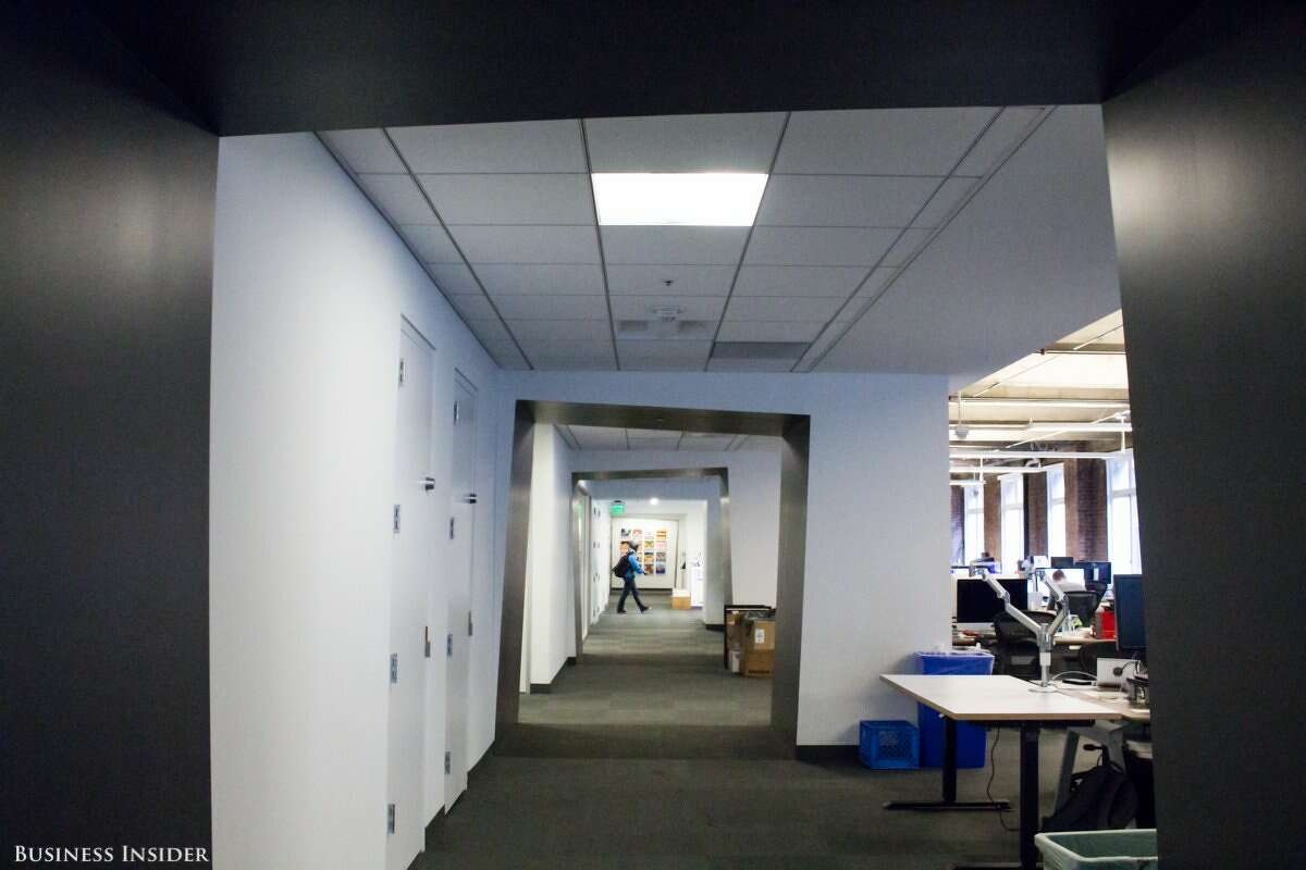 Just past the reception desk, the hallway arches slant to the side, creating an optical-illusion-like experience.