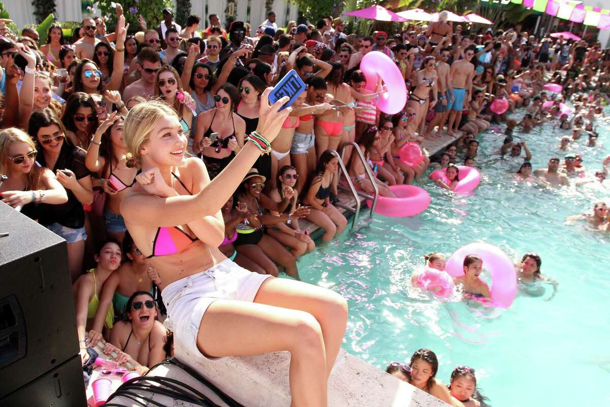 Victoria's Secret Pink model Gigi Hadid attends the Ultimate Spring Break Bash hosted by Victoria's Secret PINK Nation at Surfcomber Miami, South Beach on March 14, 2015 in Miami Beach, Florida.