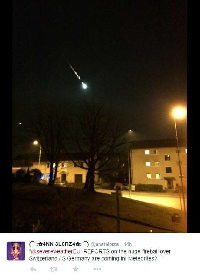 "Witnesses in Switzerland reported seeing a ""fireball"" light up the sky along with hearing ""loud explosions."" Photo: Mendoza, Madalyn S, Twitter.com"
