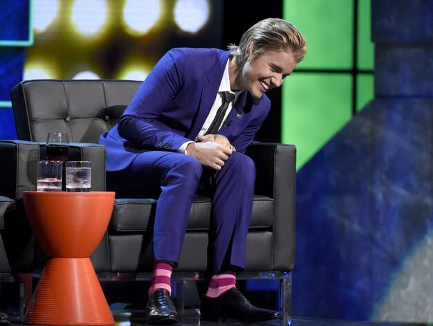 Justin Bieber reacts on stage at the Comedy Central Roast of Justin Bieber at Sony Pictures Studios on Saturday, March 14, 2015, in Culver City, Calif. Photo: Chris Pizzello, Associated Press