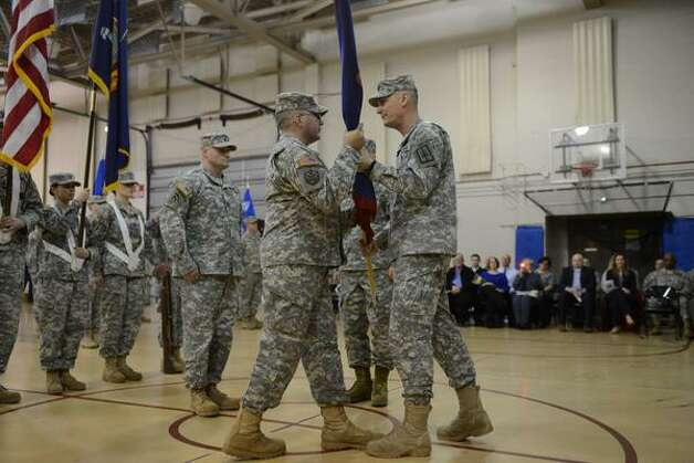 New York Army National Guard Lt. Col. James Gonyo took command of the New York Army National Guard's Recruiting and Retention Battalion on Monday March 16 during a ceremony at New York State Division of Military and Naval Affairs headquarters. He replaces Lt. Col. Henry Pettit. (Will Waldron/Times Union)