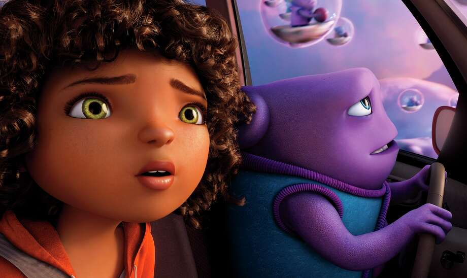 """Tip (Rihanna) and Oh (Jim Parsons) star in """"Home,"""" an animated tale of an alien invasion. Photo: Dreamworks Animation / Dreamworks Animation / ONLINE_YES"""