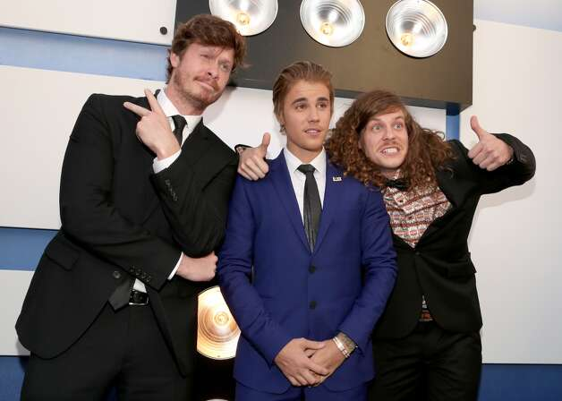 Anders Holm, Justin Bieber and Blake Anderson attend The Comedy Central Roast of Justin Bieber at Sony Pictures Studios on March 14, 2015 in Los Angeles, California. Photo: Christopher Polk, Getty Images