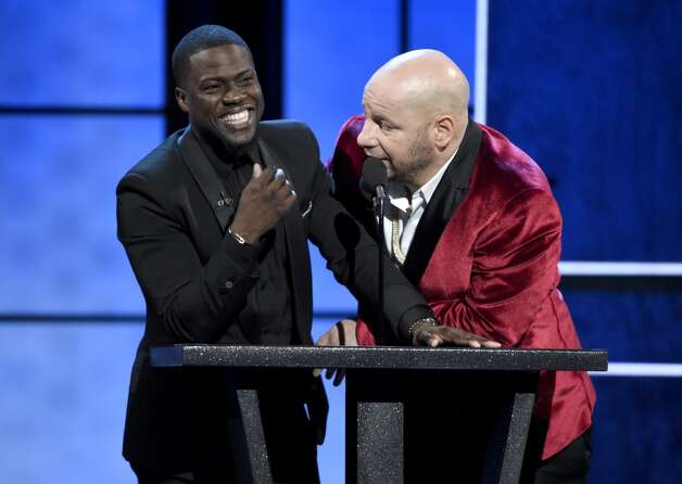 Host Kevin Hart, left, and Jeffrey Ross appear on stage at the Comedy Central Roast of Justin Bieber at Sony Pictures Studios on Saturday, March 14, 2015, in Culver City, Calif. Photo: Chris Pizzello, Associated Press
