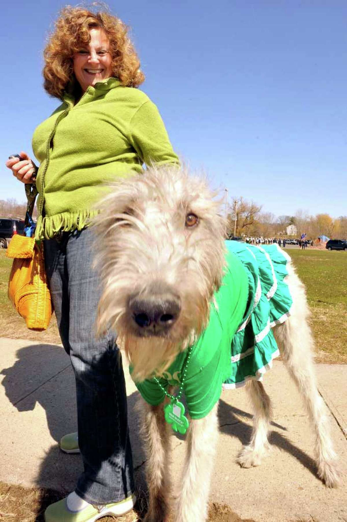 No. 17: Brookfield. 19.8 percent. Pictured: Laurie Boxer, of Brookfield, and her Irish wolfhound, Fergus O'Boxer, march in the Ancient Order of the Hibernian's St. Patrick's Day parade in Danbury, Sunday, March 20, 2011.