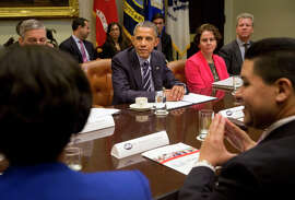 S.F. schools chief Richard Carranza (right) is among leaders meeting with President Obama at the White House in March.