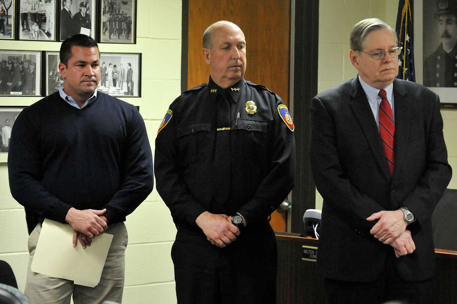 Lt. Diedrich Hohn, left, Police Chief Jon Fontneau and Mayor David Martin attend look on during a press conference - related to the arrest of two suspects accused of murdering Antonio Muralles - at police headquarters in Stamford, Conn., on Monday, March 16, 2015. Photo: Jason Rearick / Stamford Advocate
