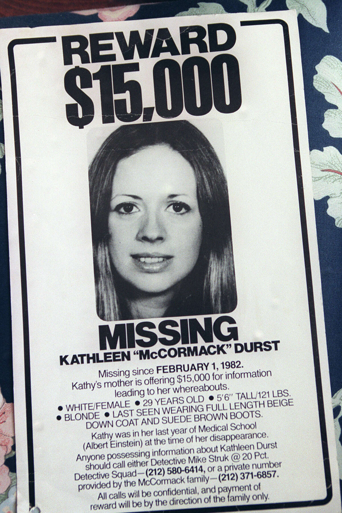 Nearly 20 years after Kathleen's disappearance New York authorities re-opened the investigation in 1999. Durst then fled to Galveston, where he rented a low-cost studio apartment posing as an elderly mute woman with a fake name, the Houston Chronicle reported.