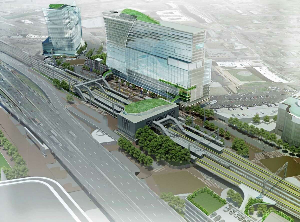 Artist rendering of a proposal to redevelop the area around the Stamford train station that would replace the existing 1985 parking garage with 600,000 square feet of commercial office space, 60,000 square-feet of street-level retail space, a hotel with approximately 150 rooms and about 150 residential units.