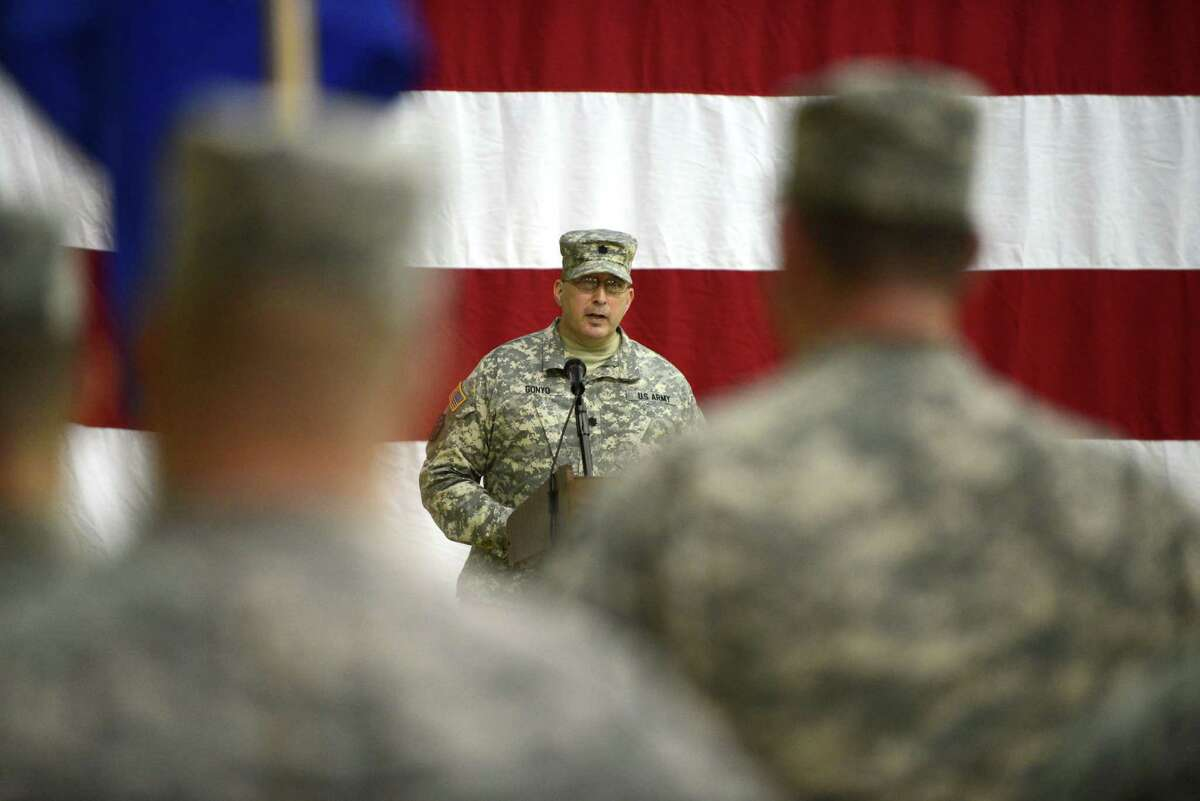 New York Army National Guard Lt. Col. James Gonyo addresses the troops during a change of command ceremony Monday, March 16, 2015, at the State Division of Military and Naval Affairs headquarters in Colonie, N.Y. Lt. Col. Gonyo took command of the New York Army National Guard Recruiting and Retention Battalion from Lt. Col. Henry Pettit. (Will Waldron/Times Union)