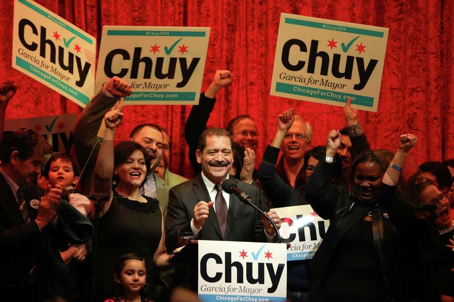 "Chicago mayoral candidate Jesus ""Chuy"" Garcia, addressing supporters with wife Evelyn at his side, proves the adage that every vote counts, a reader says. Photo: Terrence Antonio James /Associated Press / Chicago Tribune"