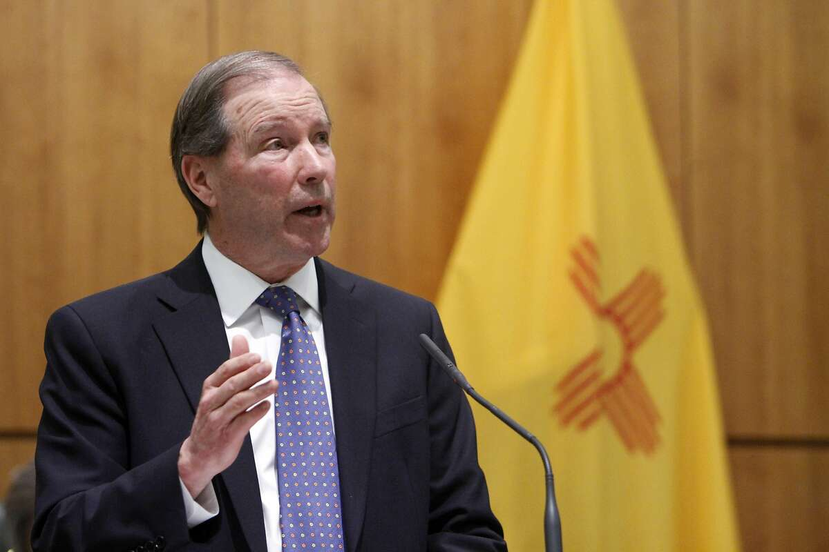 United States Senator Tom Udall addresses a joint session of the state legislature on the house floor Friday, Feb. 20, 2015. (AP Photo/The Santa Fe New Mexican, Luis Sanchez Saturno)