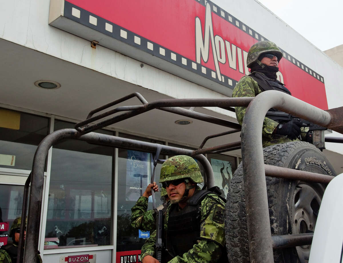 Mexican soliders were on city patrol in Matamoros.