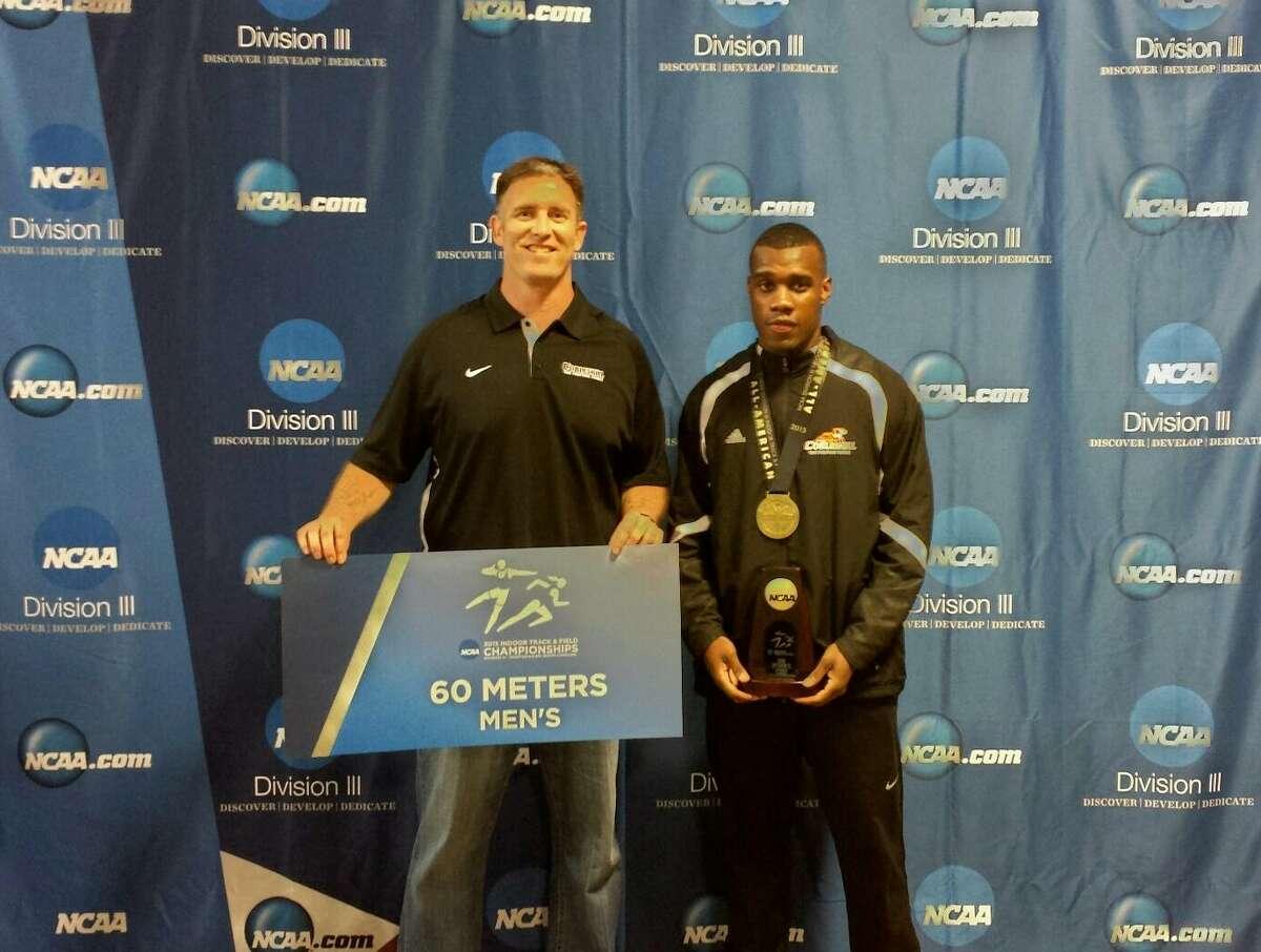 Cobleskill sprinter Winston Lee and coach Brad Fichthorn. (Cobleskill sports information)