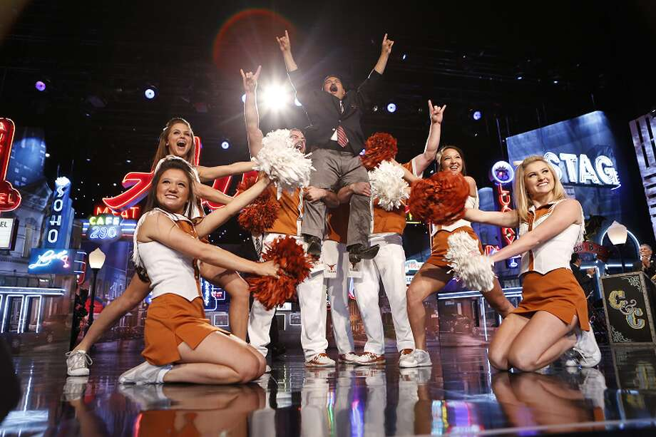 Kimmel's sidekick Guillermo has fun with the UT cheerleaders during Kimmel's first Austin broadcast from SXSW Monday, 2015. Photo: ABC