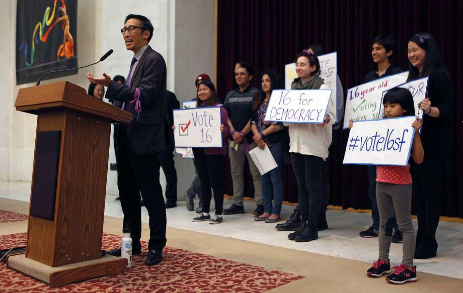 Supervisor Eric Mar speaks during a City Hall rally held by the San Francisco Youth Commission at City Hall supporting legislation to let 16- and 17-year-olds to vote in local elections. Supporters wear something purple. Photo: Jessica Christian, The Chronicle