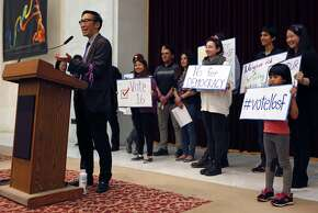 Supervisor Eric Mar speaks during a rally held by the San Francisco Youth Commission at City Hall in San Francisco, Calif. Monday, March 16, 2015  to shine light on new legislation to allow 16 and 17-year-olds to vote in San Francisco.